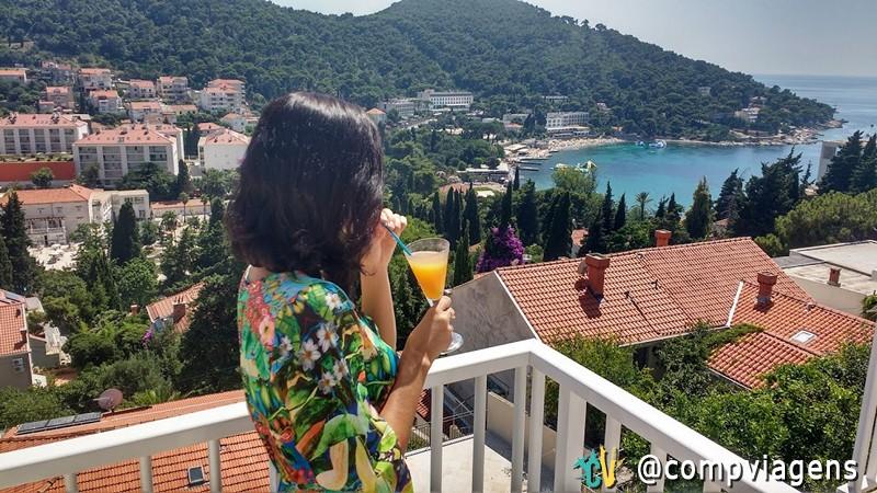 Varanda do B&B que nos hospedamos em Dubronovik, Croácia, com direito a drink de boas vindas