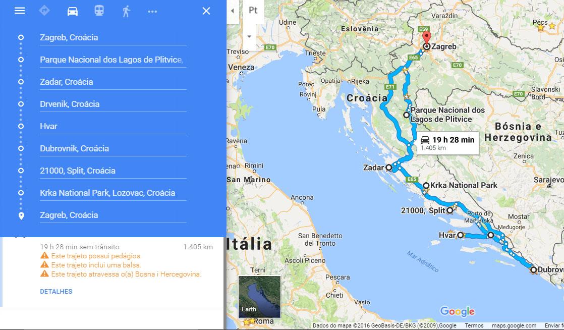 Mapa com nosso roteiro pela Croácia