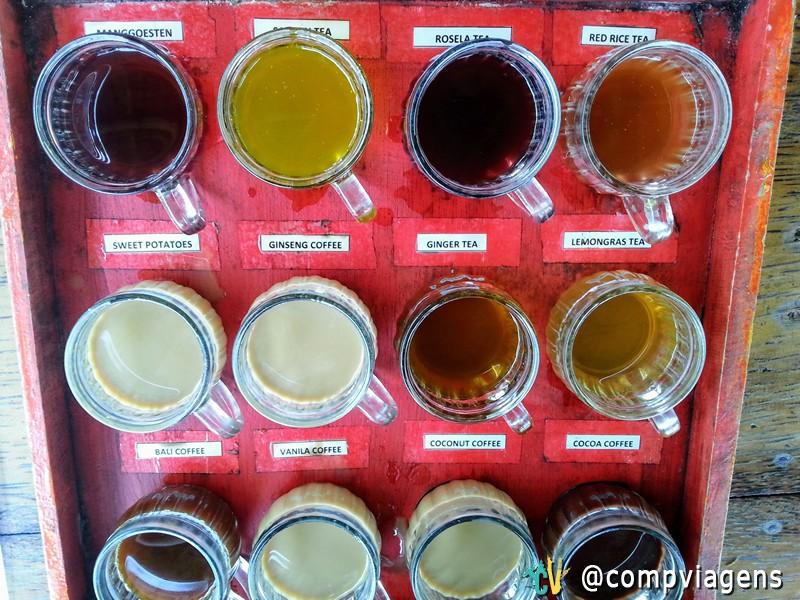 Degustação de café no Lua Café com todos os diferentes sabores