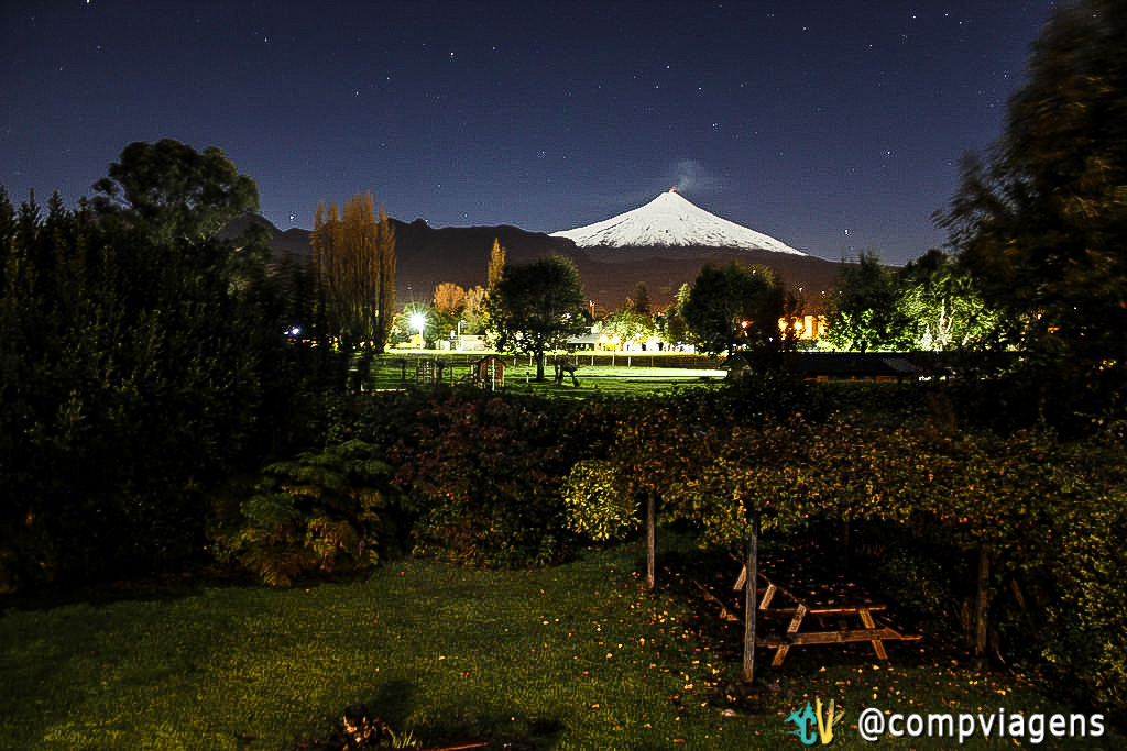 Vulcão Villarrica, em Pucón, visto do hostel French Andes