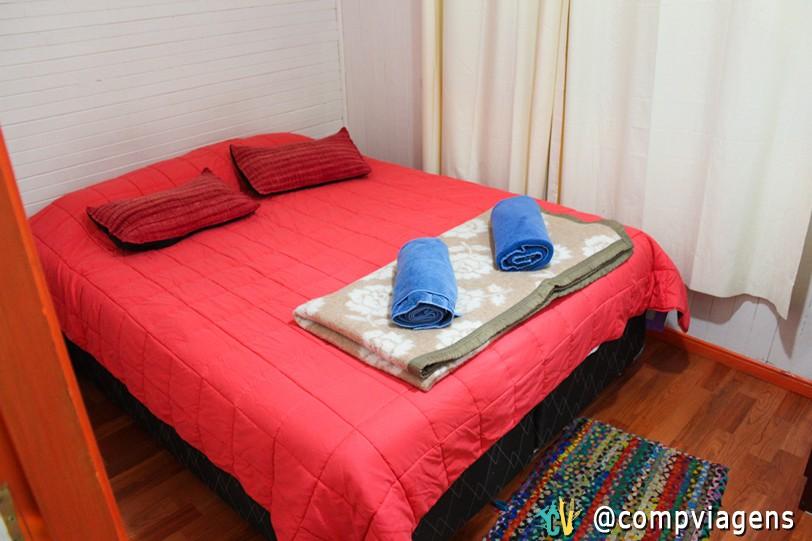 Nosso quarto de casal no La Minga Hostel
