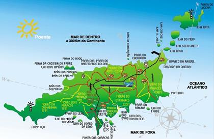 Mapa das praias de Noronha