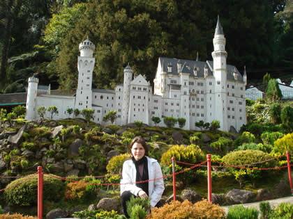 Miniatura do castelo Neuschwanstein no Mini Mundo, em Gramado