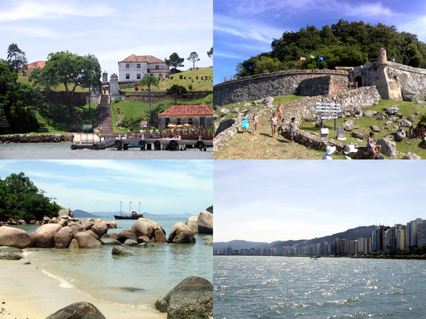 Passeio de barco: Ilha de Ratones Grande (Fortaleza de Santo Antônio) e Anhatomirim (Fortaleza de Santa Cruz), pausa para banho e vista de Floripa