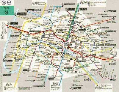 Mapa de Paris com as linhas de metrô
