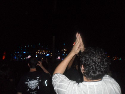 Fred Santos vibrando com o show do Slipknot