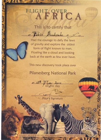 Certificado voo de balão