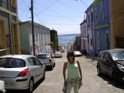 Mar de Valparaíso ao fundo