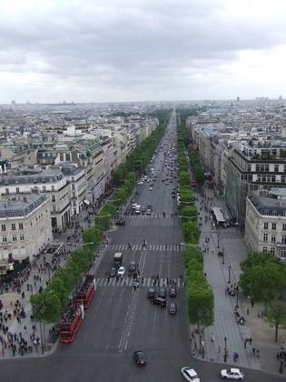 Champs-Elysées Avenue vista do Arco do Triunfo