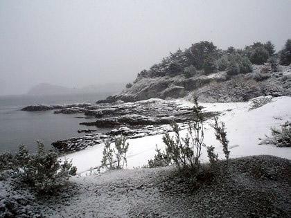 Parque Nacional Tierra del Fuego:  Praia e neve, uma combinação que vi pela primeira vez em minha vida