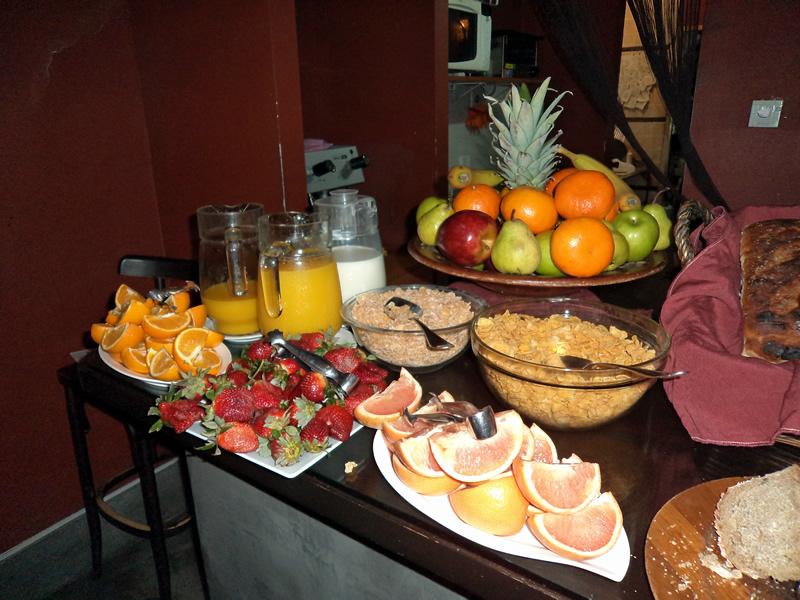 Parte da mesa do café da manhã