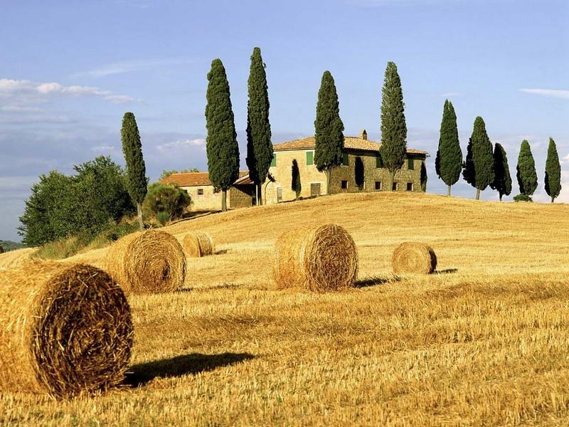 Paisagem característica da região italiana da Toscana