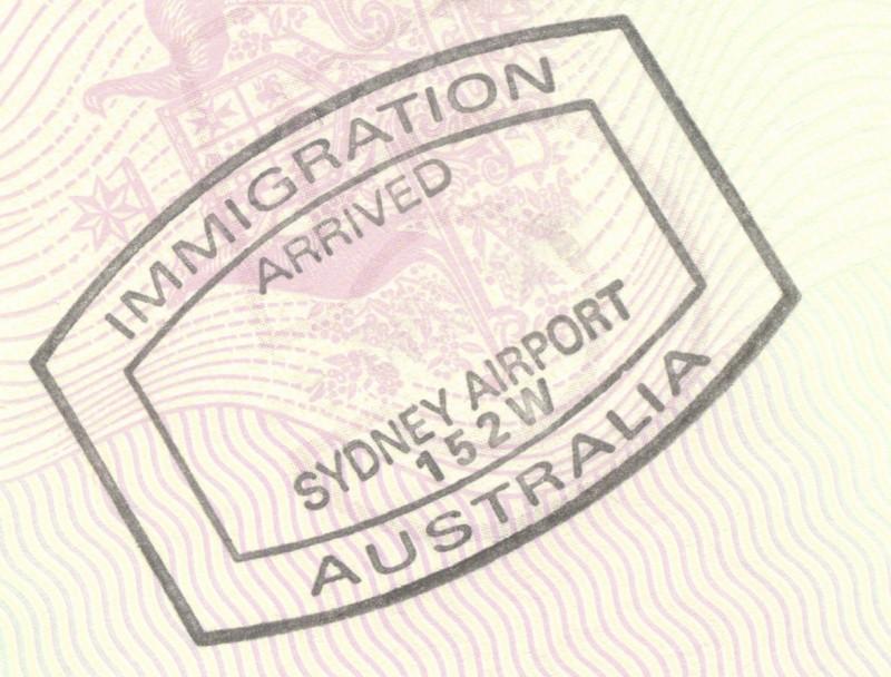 Carimbo da imigração da Austrália