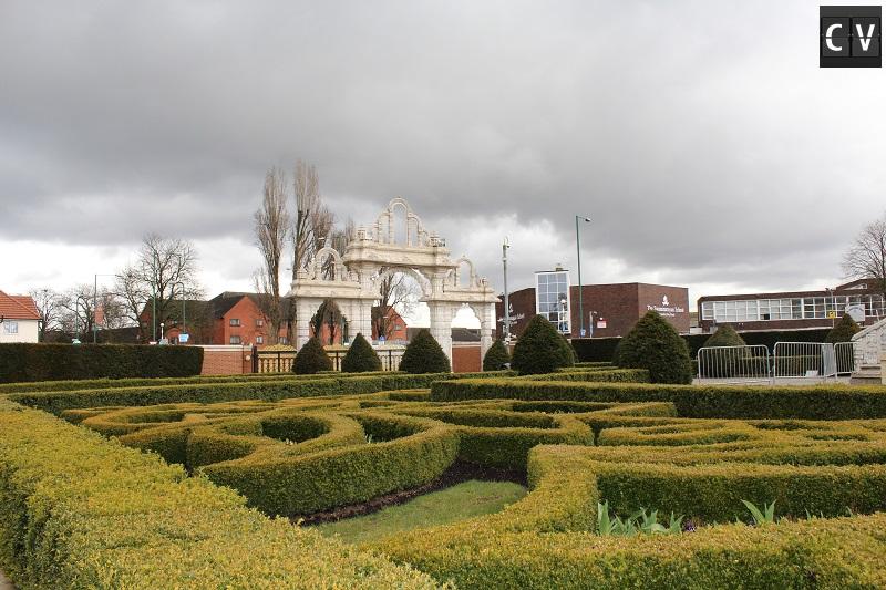 Detalhe dos jardins do templo
