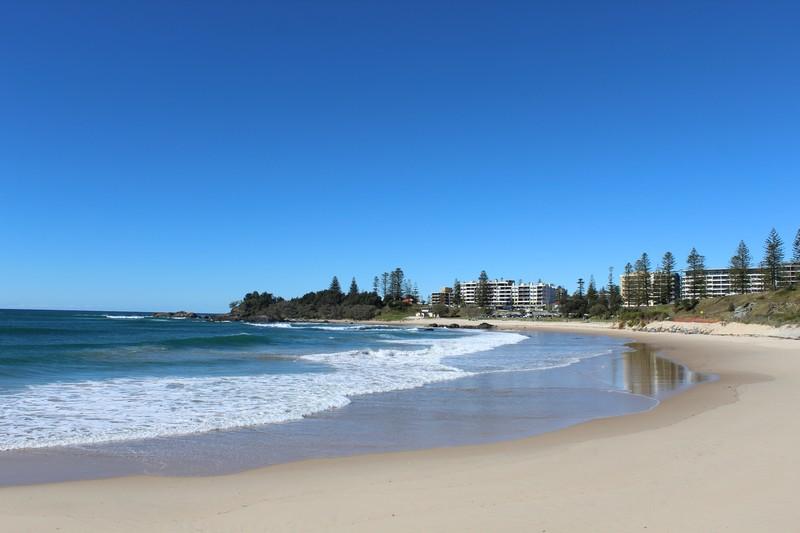 Praia em Port Macquarie em frente ao nosso campground