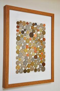 A ideia é fazer um quadrinho de moedas ou um tampo de mesinha de centro