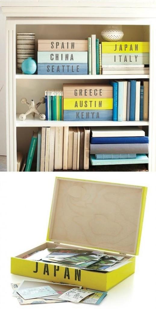Amei a ideia de caixas de fotos organizadas por países