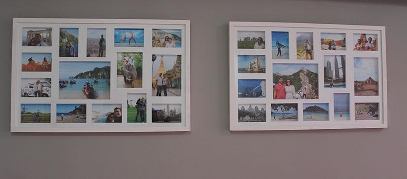 Nossa pequena galeria Volta ao Mundo na sala de casa