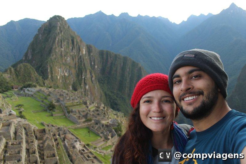 Nós dois encantados com Machu Picchu