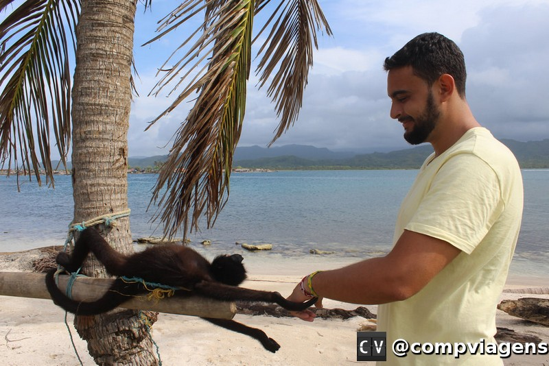 Fred brincando com um dos macaquinhos da ilha