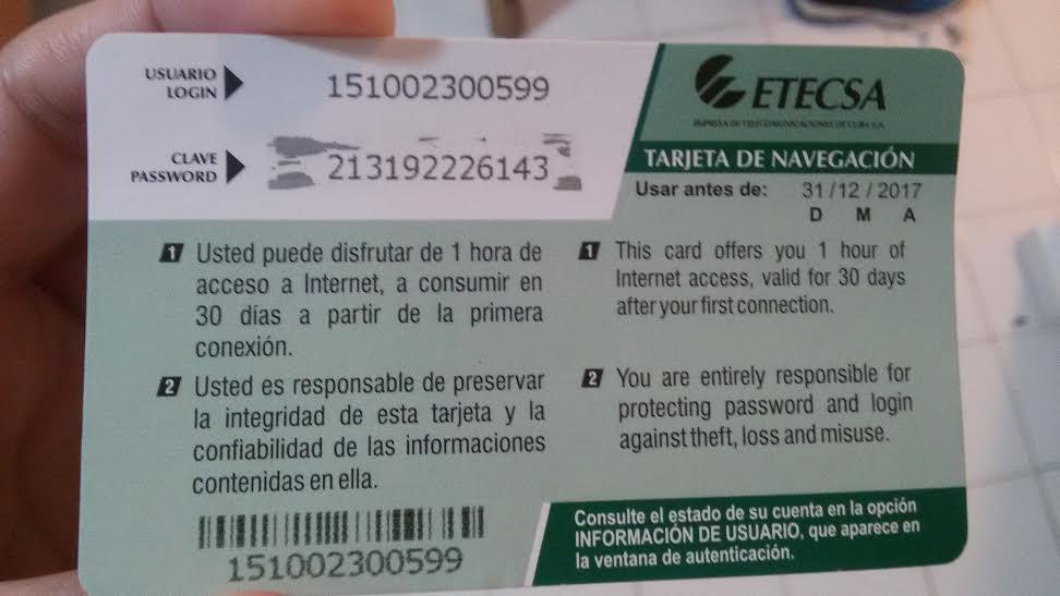 Verso do cartão com acesso à wi-fi em Cuba, com login e senha
