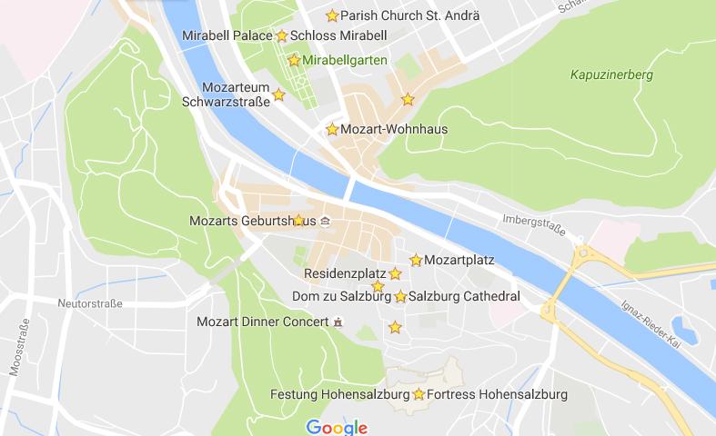Mapa do nosso roteiro em Salzburg