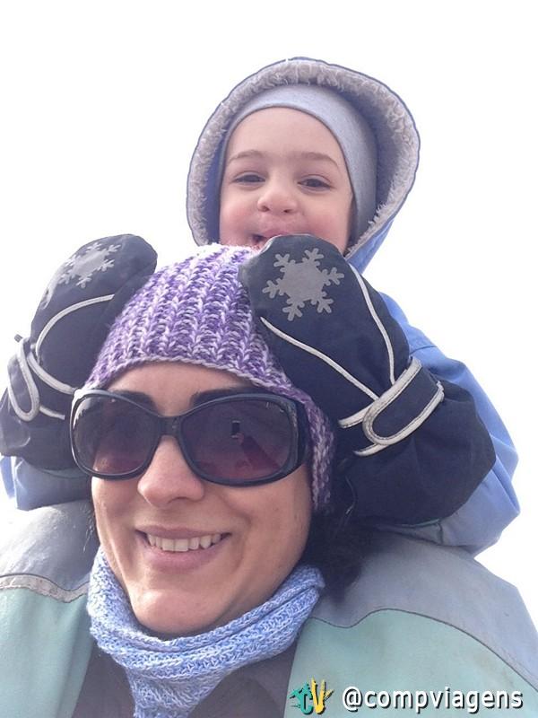 No inverno, com o filho mais velho