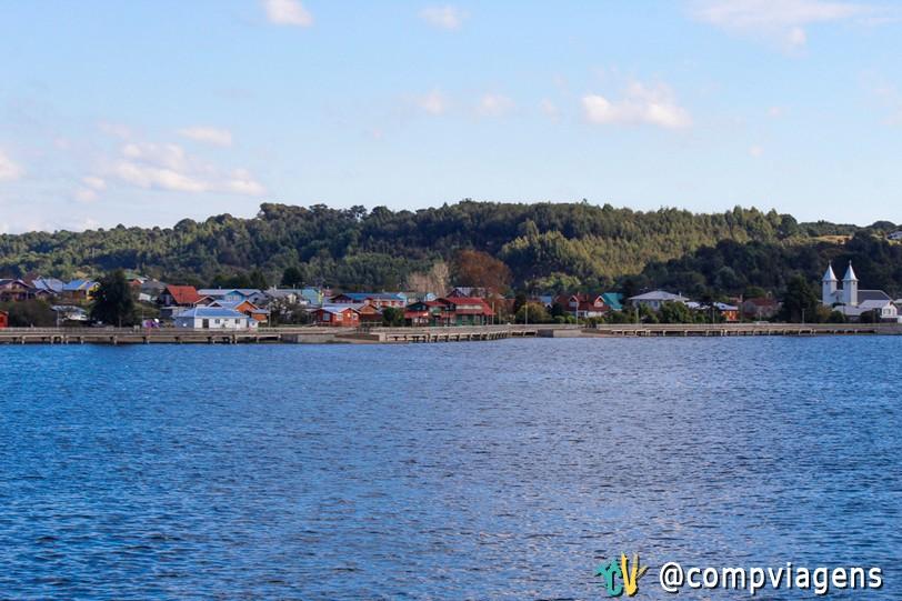 Chegada em Chiloé, vista do ferry