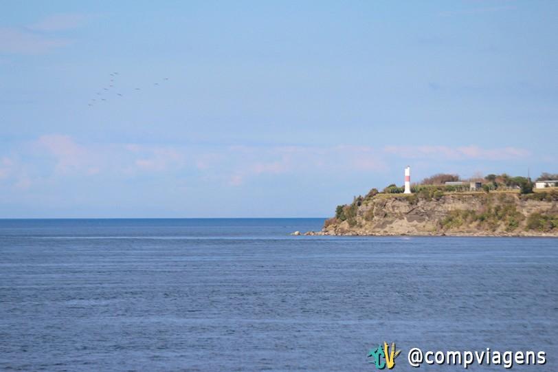Vista do ferry na chegada em Chiloé