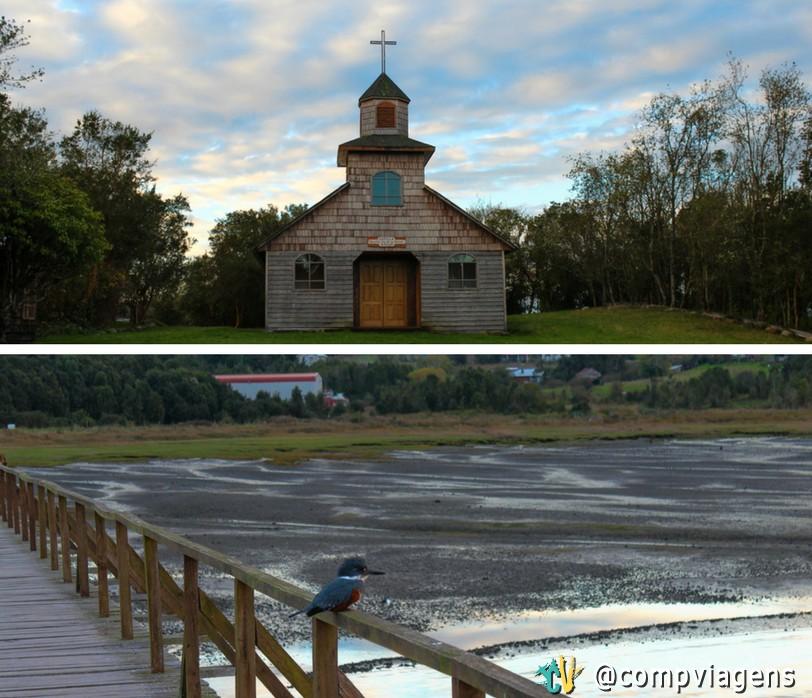 Igreja da Isla Aucar e pássaro Quemchi