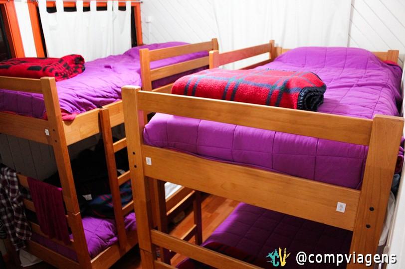 O quarto compartilhado de Julie, no La Minga Hostel